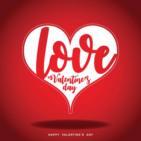Happy Valentine day with heart on a red background, vector illustration.