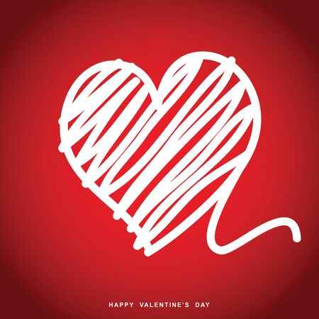 Happy Valentine day with heart on red background, vector illustration.