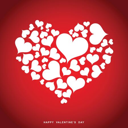 Happy valentines day heart design on red background