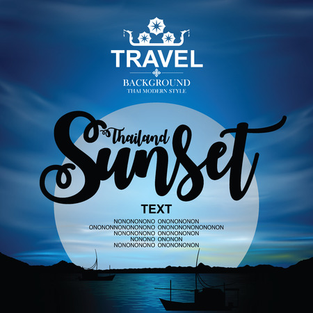Thailand sunset Background. Vector illustration.