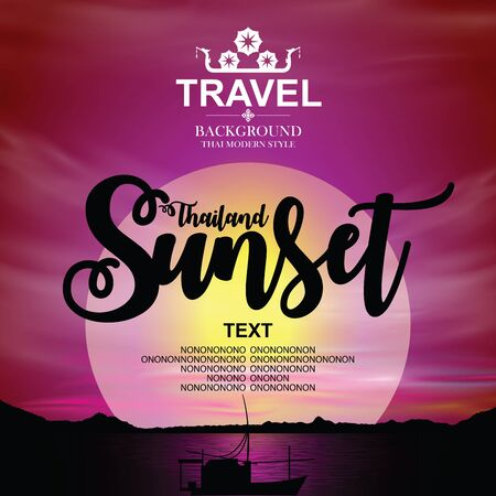 Thailand sunset Background. Vector illustration. Banco de Imagens - 91913412