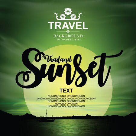 Thailand sunset Background. Vector illustration.