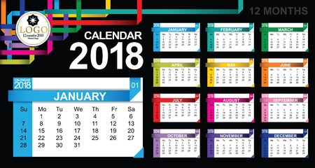 Annual calendar for 2018 Modern graphic layout background.