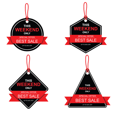 This weekend only Sale banner. Big and best sale, up to 50% off. Vectores