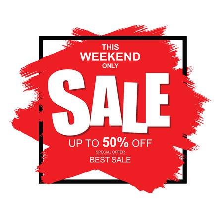 Este fim de semana apenas banner de venda. Grande e melhor venda, até 50% de desconto. Foto de archivo - 93820038