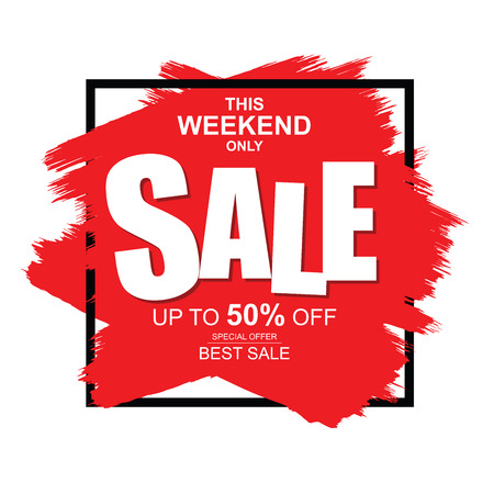 This weekend only Sale banner. Big and best sale, up to 50% off. Иллюстрация