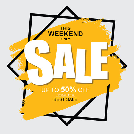 This weekend only Sale banner. Big and best sale, up to 50% off. Ilustração