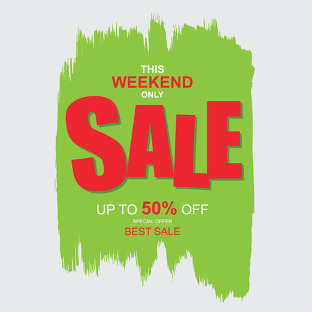 This weekend only Sale banner. Big and best sale, up to 50% off. Illustration