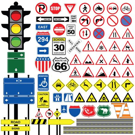 Traffic signs on white background.