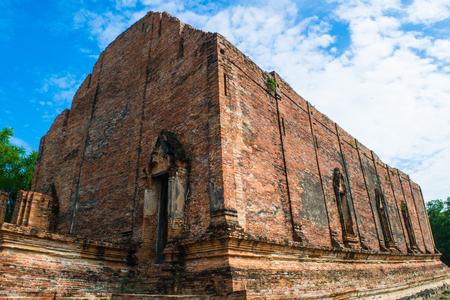 Wat Mahaeyong  Old Temple in Ayutthaya ,Thailand Stock Photo