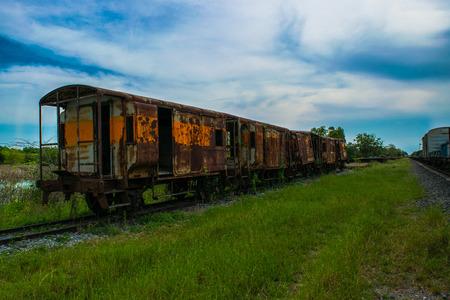 Abandoned train wreck Stock Photo