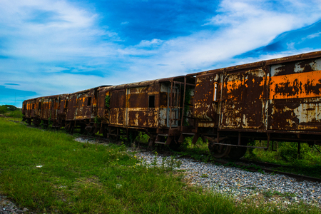 Abandoned train wreck Stock Photo