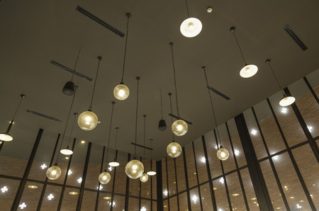 Ceiling light in cafe photo