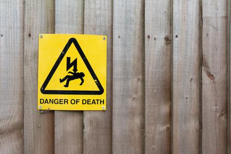slip hazard: Caution Sign: Danger of Death on Wood background