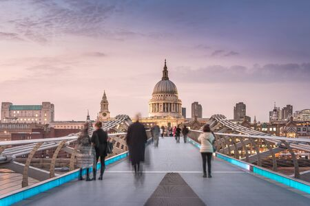 london landmark: Symmetry on the Millennium Bridge to the St Pauls Cathedral