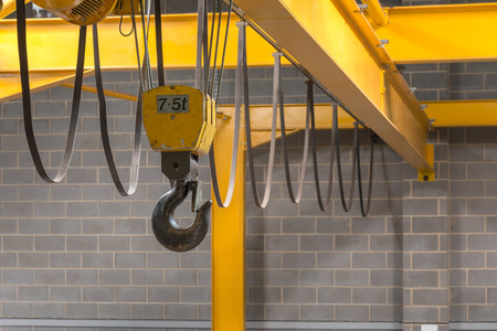 hoist: Yellow Indoor Cranes Hook and Black Sling