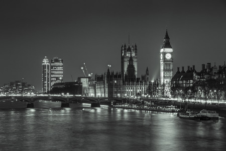 Big Ben across the River, London at Night (Black and White) photo