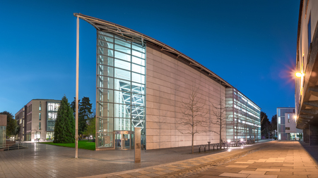 lecture theatre: Cambridge, UK - April 14, 2015: Sidgwick Site, one of the largest sites within the University of Cambridge, England, UK shot in Twilight. Several Universitys Arts and Humanities Faculties are here.