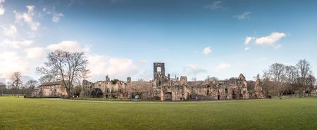 abbeys: Panorama of Kirkstall Abbeys Ruins in Leeds, UK Stock Photo
