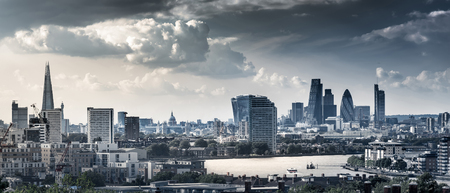city park skyline: London Landmarks Skyline along with Thames River at Day Time in Two-tone Color Stock Photo