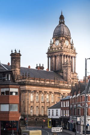 local landmark: Leeds Town Hall, a local landmark and public building, taken from the back in evening of Leeds, West Yorkshire, UK