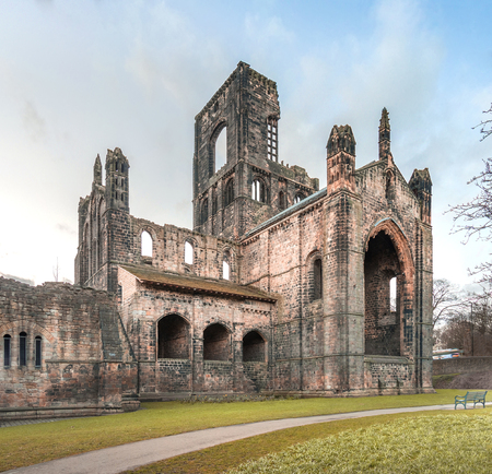 abbey ruins abbey: Ruins of Kirkstall Abbey in Leeds, UK