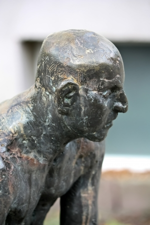 statue of a man with skin head hair style