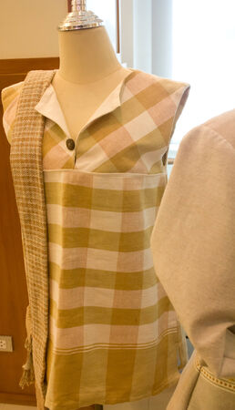 armless silk shirt with plaid pattern photo