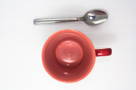top view of empty glass with spoon
