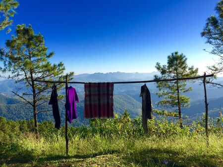clothes: Natral clothes line on the mountain in Chiangmai Thailand