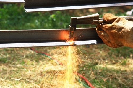 acetylene: Metal sawing close up