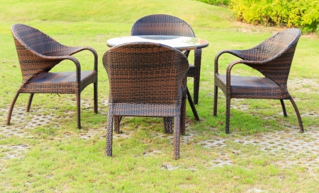 chairs decorated in the garden  photo