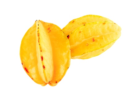 Two carambolas - starfruits isolated on white background  photo