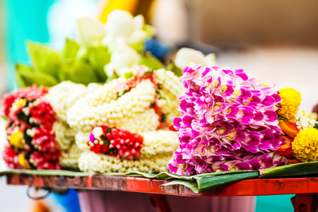 west bengal: Garland of mutiple colors of flower
