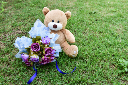 bear and flower Stock Photo