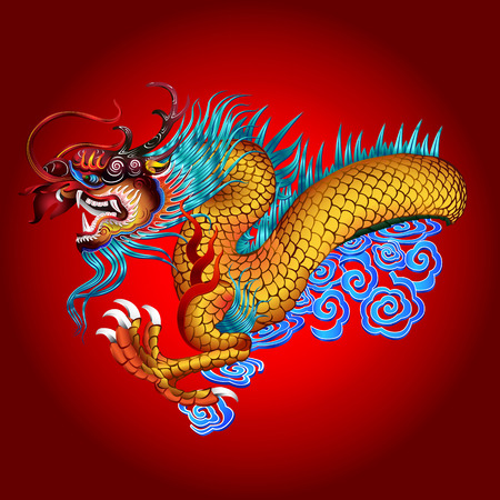 illustratie van de draak op rode Stock Illustratie