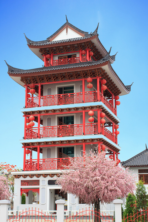 Chinese style building red wood photo