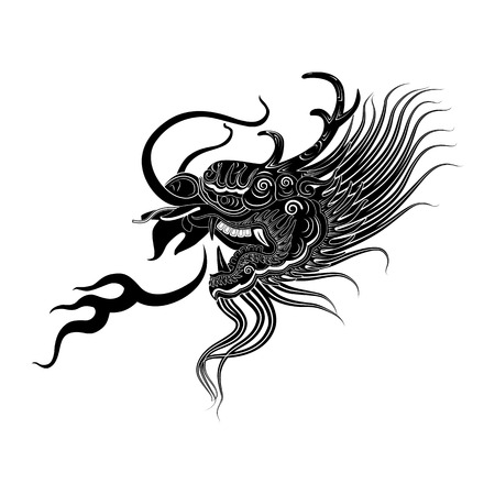 thai tattoo: illustration of  black dragon head on white background icon vector