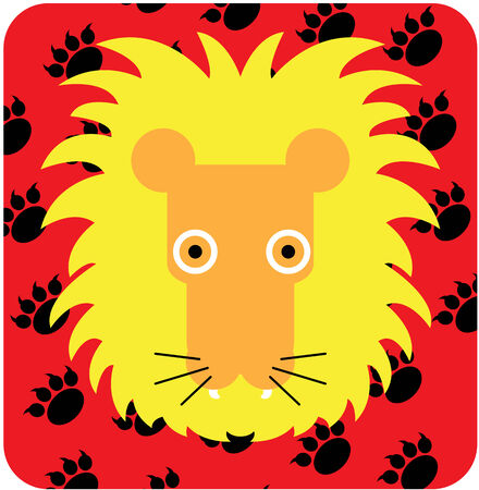 Vector icon illustration of cute animal, lion
