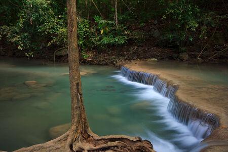 appalachian trail sign: Soft water at waterfall, tree, green