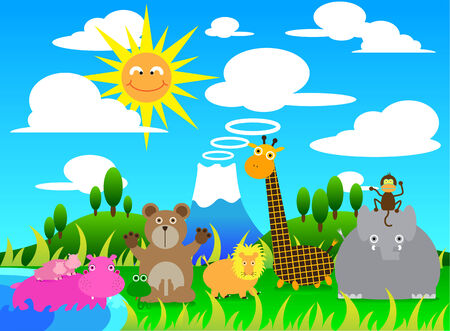 Illustration cartoon of Scene with Wild Animals Group