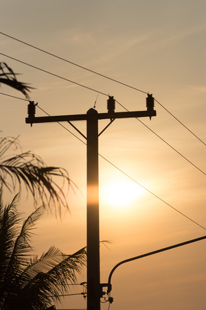 Electric wires silhouette close-up photo