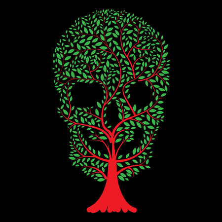 Vector  illustration of  Skull  tree  Vector