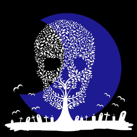 Vector  illustration of  Skull  tree moon graves Vector