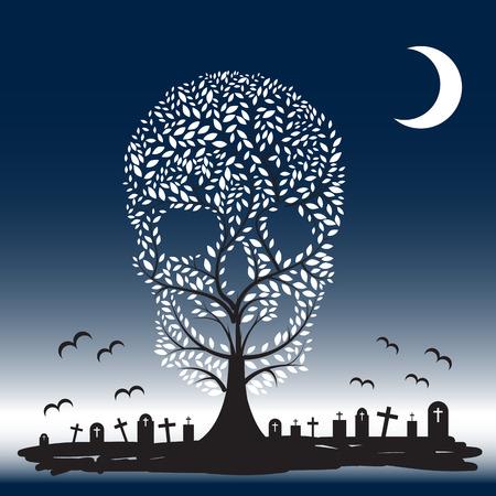 all saint day: Vector  illustration of  Skull  tree moon graves