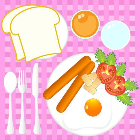 Illustration  of  morning  breakfast  vector  top view Vector