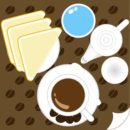 stuffing: Illustration of cup coffee and bread breakfast Illustration