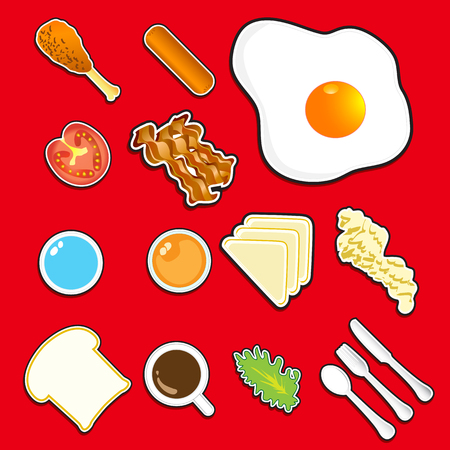 Illustration  of icon breakfast  vector  top view Vector