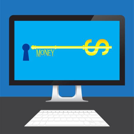 key of Money Dollars online on desktop computer  table Vector