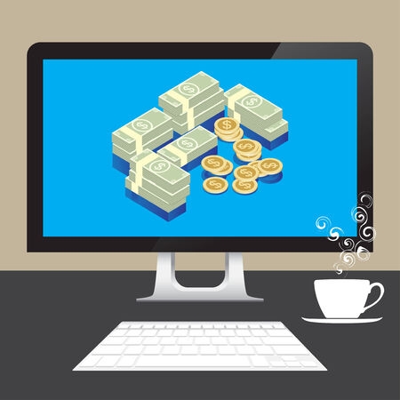 Money Dollars online from desktop computer on table with coffee Vector